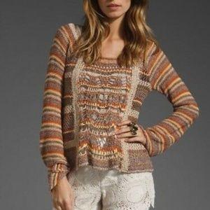 Free People Phoenix Brown Stripe Crochet Sweater S